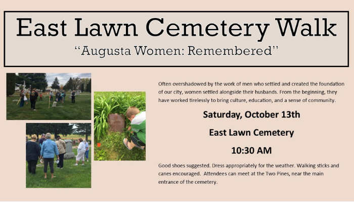 Augusta women cemetery walk Saturday, October 13 at 10:30 AM