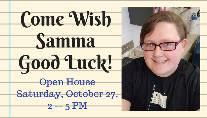 Open house for Samma Saturday, October 27 from 2 to 5 PM
