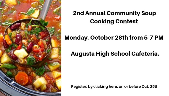 2nd Annual Community Soup Cooking Contest Monday, October 28 from 5 to 7 pm