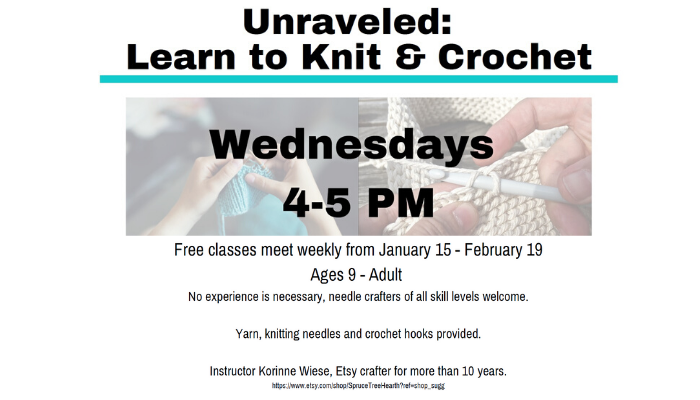 Free knit and crochet classes starting January 15.