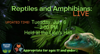 Reptiles and Amphibians: LIVE Tuesday, July 6 at updated time! 2 PM