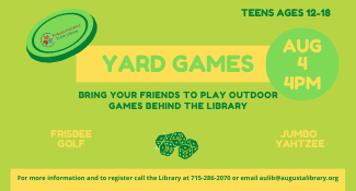 Teen Yard Games on Wednesday, Augusta 4 at 4 PM