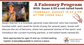 Falconry Program on Thursday August 19 at 6 PM ages 12 and up
