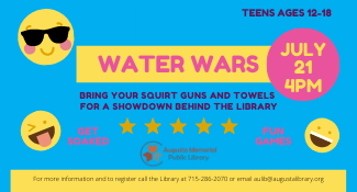 Teen Water Wars on Wednesday, July 21 at 4 pm