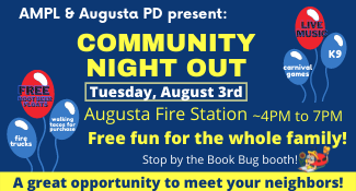 Book Bug will be at the Community Night Out event on Tuesday, August 3rd from 4-7 pm